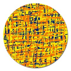 Yellow, Orange And Blue Pattern Magnet 5  (round) by Valentinaart