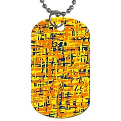 Yellow, Orange And Blue Pattern Dog Tag (one Side) by Valentinaart