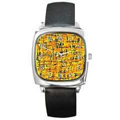 Yellow, Orange And Blue Pattern Square Metal Watch by Valentinaart