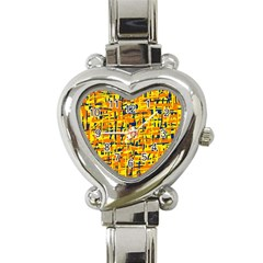 Yellow, Orange And Blue Pattern Heart Italian Charm Watch by Valentinaart