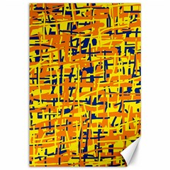 Yellow, Orange And Blue Pattern Canvas 12  X 18   by Valentinaart
