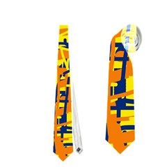 Yellow, Orange And Blue Pattern Neckties (one Side)  by Valentinaart
