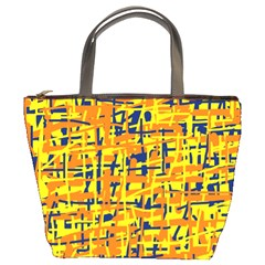 Yellow, Orange And Blue Pattern Bucket Bags by Valentinaart