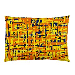 Yellow, Orange And Blue Pattern Pillow Case by Valentinaart