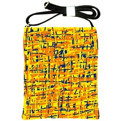 Yellow, Orange And Blue Pattern Shoulder Sling Bags by Valentinaart