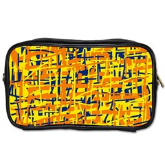 Yellow, Orange And Blue Pattern Toiletries Bags