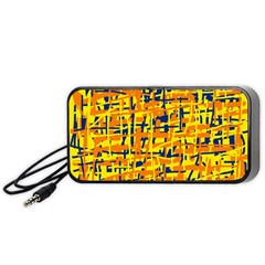 Yellow, Orange And Blue Pattern Portable Speaker (black)  by Valentinaart