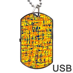 Yellow, Orange And Blue Pattern Dog Tag Usb Flash (one Side) by Valentinaart