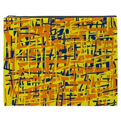 Yellow, Orange And Blue Pattern Cosmetic Bag (xxxl)  by Valentinaart
