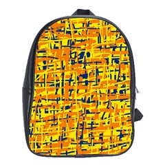 Yellow, Orange And Blue Pattern School Bags (xl)  by Valentinaart