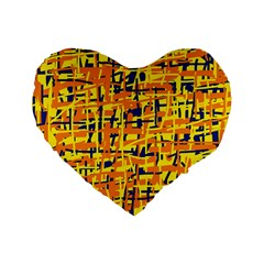 Yellow, Orange And Blue Pattern Standard 16  Premium Heart Shape Cushions by Valentinaart