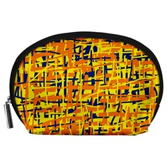 Yellow, Orange And Blue Pattern Accessory Pouches (large)  by Valentinaart