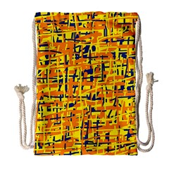 Yellow, Orange And Blue Pattern Drawstring Bag (large) by Valentinaart