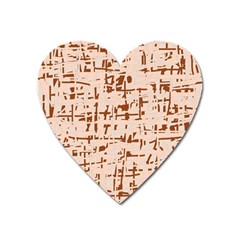 Brown Elegant Pattern Heart Magnet by Valentinaart