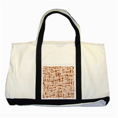 Brown Elegant Pattern Two Tone Tote Bag