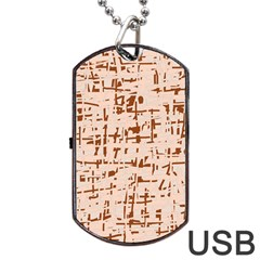 Brown Elegant Pattern Dog Tag Usb Flash (one Side) by Valentinaart
