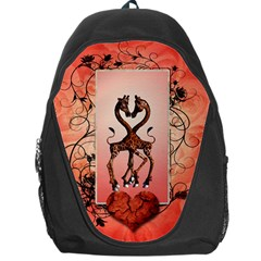 Cute Giraffe In Love With Heart And Floral Elements Backpack Bag by FantasyWorld7