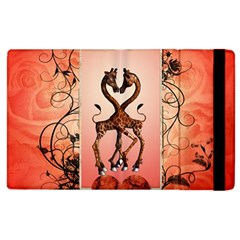 Cute Giraffe In Love With Heart And Floral Elements Apple Ipad 2 Flip Case by FantasyWorld7