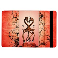 Cute Giraffe In Love With Heart And Floral Elements Ipad Air Flip by FantasyWorld7