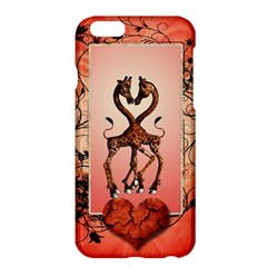 Cute Giraffe In Love With Heart And Floral Elements Apple Iphone 6 Plus/6s Plus Hardshell Case by FantasyWorld7