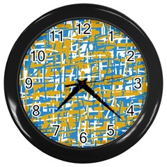Blue And Yellow Elegant Pattern Wall Clocks (black) by Valentinaart