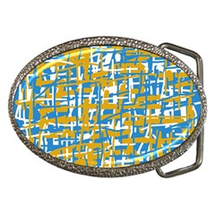 Blue And Yellow Elegant Pattern Belt Buckles by Valentinaart