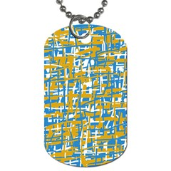 Blue And Yellow Elegant Pattern Dog Tag (two Sides) by Valentinaart