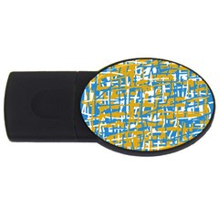 Blue And Yellow Elegant Pattern Usb Flash Drive Oval (2 Gb)  by Valentinaart