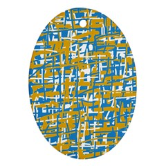 Blue And Yellow Elegant Pattern Oval Ornament (two Sides) by Valentinaart