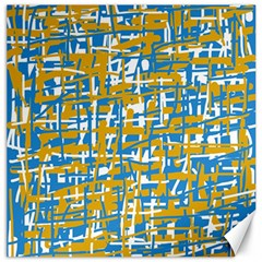 Blue And Yellow Elegant Pattern Canvas 16  X 16   by Valentinaart