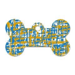 Blue And Yellow Elegant Pattern Dog Tag Bone (two Sides)