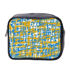 Blue And Yellow Elegant Pattern Mini Toiletries Bag 2 Side by Valentinaart