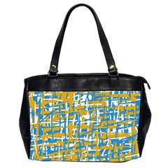 Blue And Yellow Elegant Pattern Office Handbags (2 Sides)  by Valentinaart