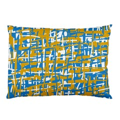 Blue And Yellow Elegant Pattern Pillow Case (two Sides) by Valentinaart