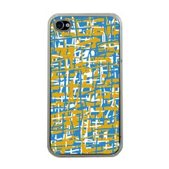 Blue And Yellow Elegant Pattern Apple Iphone 4 Case (clear) by Valentinaart
