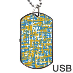 Blue And Yellow Elegant Pattern Dog Tag Usb Flash (one Side) by Valentinaart