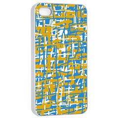 Blue And Yellow Elegant Pattern Apple Iphone 4/4s Seamless Case (white) by Valentinaart