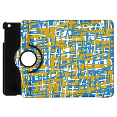 Blue And Yellow Elegant Pattern Apple Ipad Mini Flip 360 Case by Valentinaart