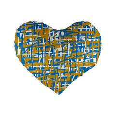 Blue And Yellow Elegant Pattern Standard 16  Premium Heart Shape Cushions by Valentinaart
