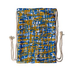 Blue And Yellow Elegant Pattern Drawstring Bag (small) by Valentinaart