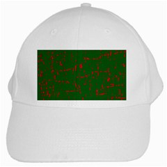 Green And Red Pattern White Cap by Valentinaart