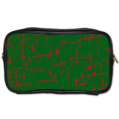 Green And Red Pattern Toiletries Bags by Valentinaart