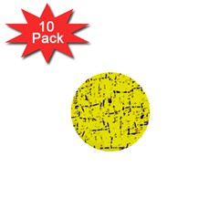 Yellow Summer Pattern 1  Mini Buttons (10 Pack)  by Valentinaart