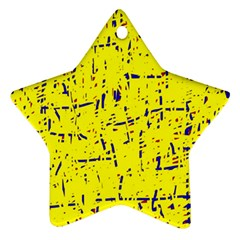 Yellow Summer Pattern Star Ornament (two Sides)
