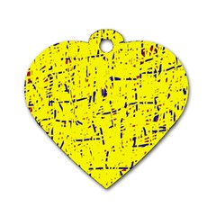 Yellow Summer Pattern Dog Tag Heart (one Side) by Valentinaart