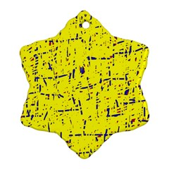 Yellow Summer Pattern Snowflake Ornament (2 Side) by Valentinaart