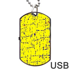 Yellow Summer Pattern Dog Tag Usb Flash (one Side) by Valentinaart