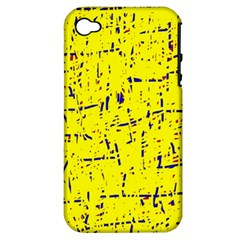 Yellow Summer Pattern Apple Iphone 4/4s Hardshell Case (pc+silicone) by Valentinaart