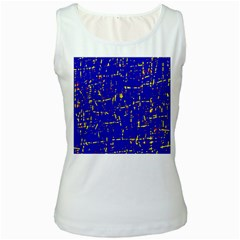 Blue Pattern Women s White Tank Top