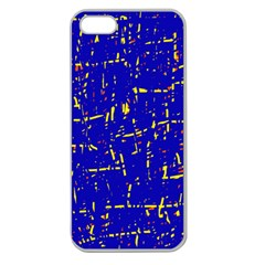 Blue Pattern Apple Seamless Iphone 5 Case (clear) by Valentinaart